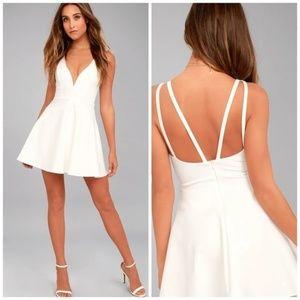 Lulu's Love Galore White Skater Dress NEW